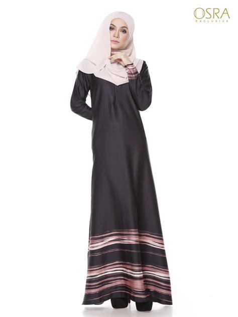 Baju Muslimah Jubah Printed Muslimah Haleena Black Widow Osra Muslimah