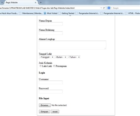 Membuat Form Registrasi Mengunakan Kode Html Pemrograman Web | membuat form registrasi mengunakan kode html pemrograman web