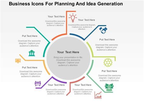 Business Icons For Planning And Idea Generation Flat Powerpoint Slide Ideas