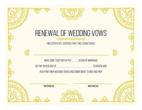 vow renewal certificate template free printable gold certificate of vow renewal