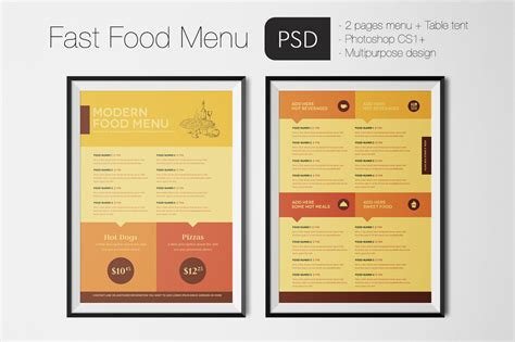 Fast Food Menu Card Templates by Fast Food Menu Photoshop Template By Luuqas Design