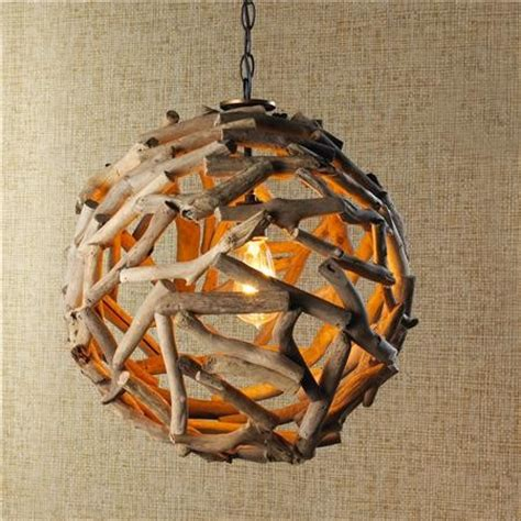 ball driftwood pendant light • id lights