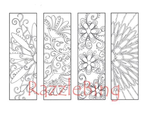 Diy Bookmark Printable Coloring Page Zentangle Inspired Bookmarks Coloring Pages
