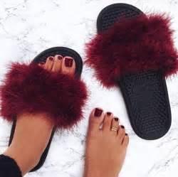 Duvet Boa Shoes Slide Shoes Fluffy Burgundy Shoes Burgundy Nike