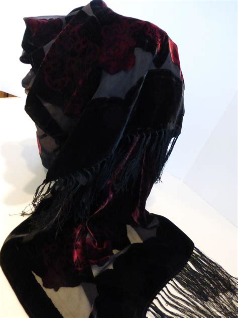 Pashmina Velvet Cutting T32 floral black voided cut velvet silk shawl with fringe from historique on ruby