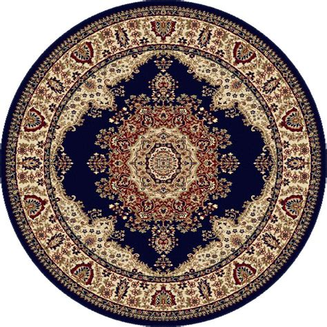 Circular Area Rug Tayse Rugs Sensation Navy Blue 7 Ft 10 In Traditional Area Rug 4707 Navy 8 The