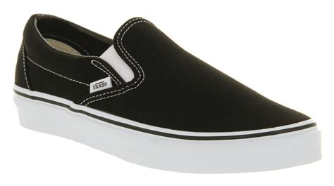 mens vans classic slip on shoes black white trainers shoes
