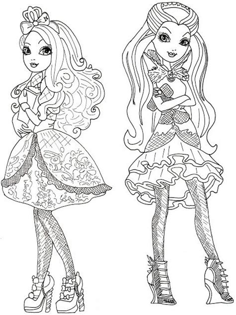 ever after monster high coloring pages apple white and raven queen free coloring page free
