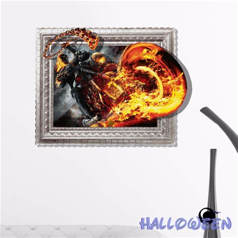 3d Sticker Motorrad by Pag Sticker 3d Wall Decals Fire Motorbike Wall Painting