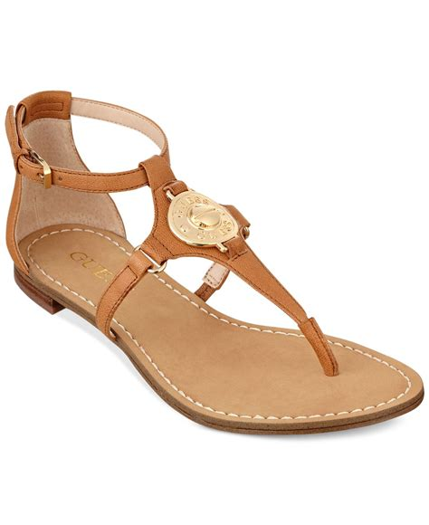 sandals guess lyst guess s rafiya t flat sandals in brown