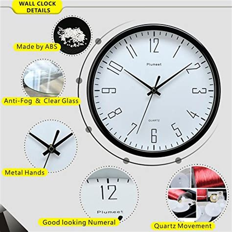 amazon com plumeet large number wall clock 13 silent non ticking plumeet 10 quot silent wall clock with large graceful numbers