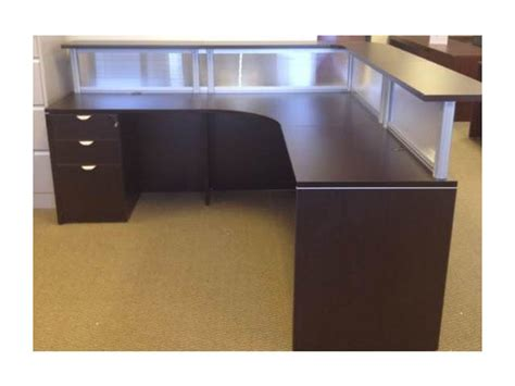 Office Receptionist Desk Reception Desks With Bbf Pedestal Used Office Furniture Dallas