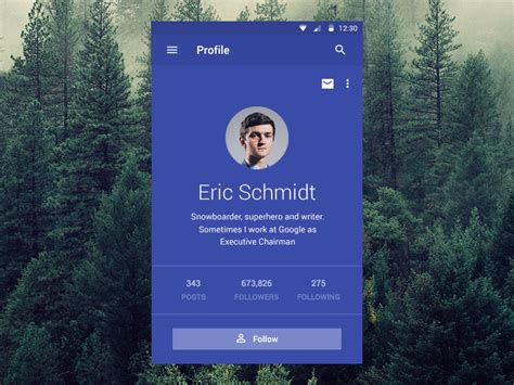 material design company profile material designed profile app uplabs