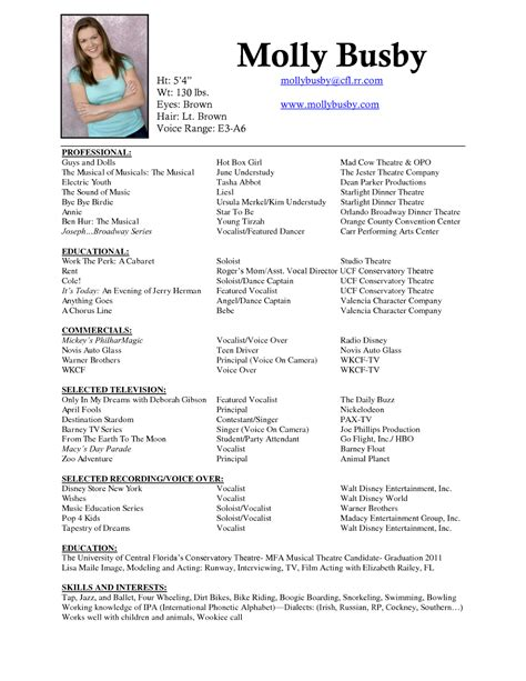 musical theatre resume template musician resume sle sle resumes