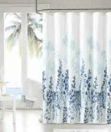 Shower Curtains Mirage Teal Blue White Floral Flowers Fabric Bathroom