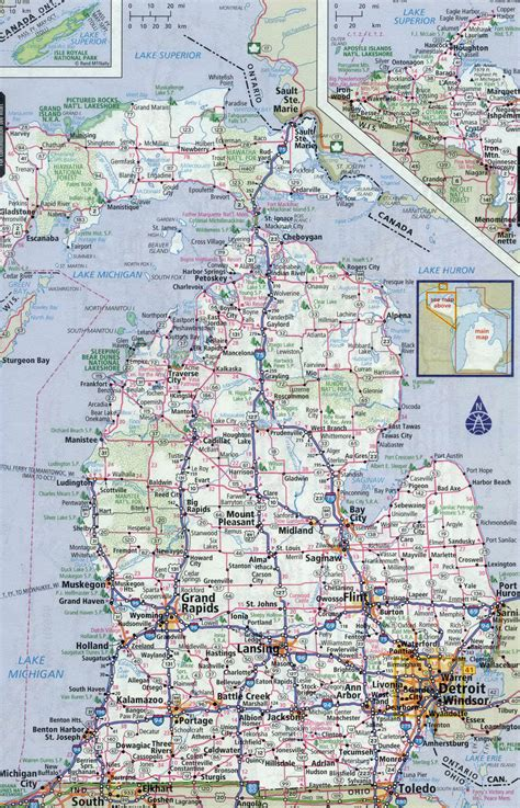 map of cities in michigan large detailed roads and highways map of michigan state