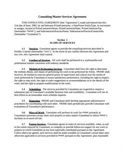 master agreement template sle service agreements exle of service level