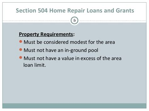 Section 504 Requirements by Usda Section 504 Home Repair Program Overview