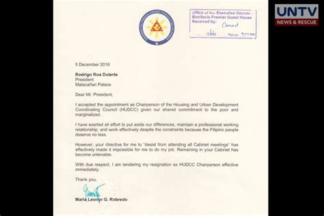 Resignation Letter Sle Vice President copy of vp leni s resignation letter untv news