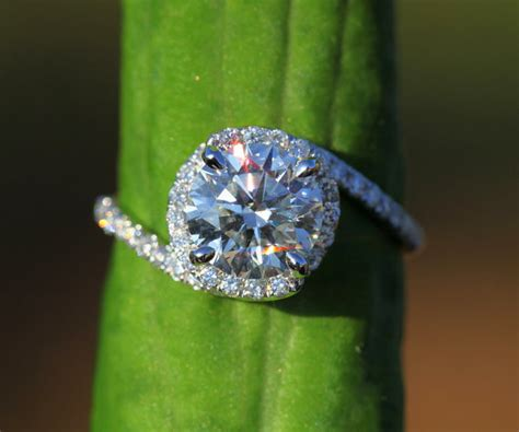 14k white gold engagement ring halo by beautifulpetra
