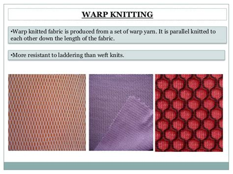 warp knitted fabric properties knitting types