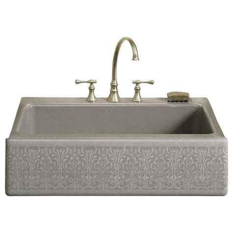 Kitchen Single Bowl Sinks Kohler Whitehaven Undermount Farmhouse Apron Front Cast Iron 33 In Single Bowl Kitchen Sink In