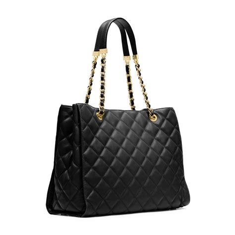 Quilted Bag by Michael Kors Susannah Quilted Leather Large Tote In Black