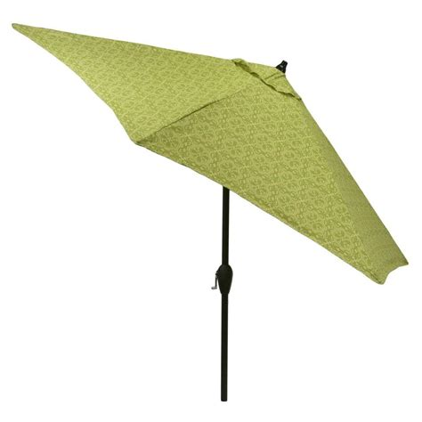 9 Ft Patio Umbrella Hton Bay 9 Ft Aluminum Market Patio Umbrella In Sunbrella Spectrum Mist With Push Button
