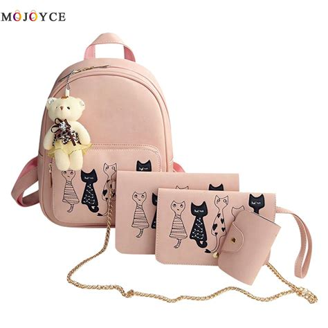 Backpack Set 4 In 1 4pcs set small backpacks 2017 school bags for black pu leather