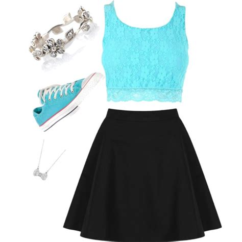blue crop top with black skater skirt and converse polyvore