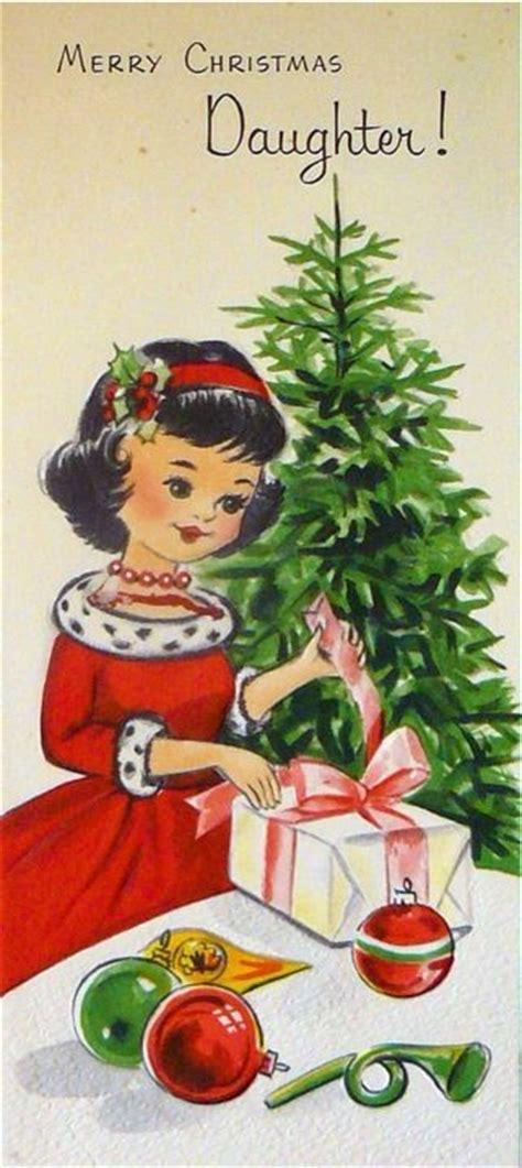 vintage greeting card merry christmas daughter unused  envelope