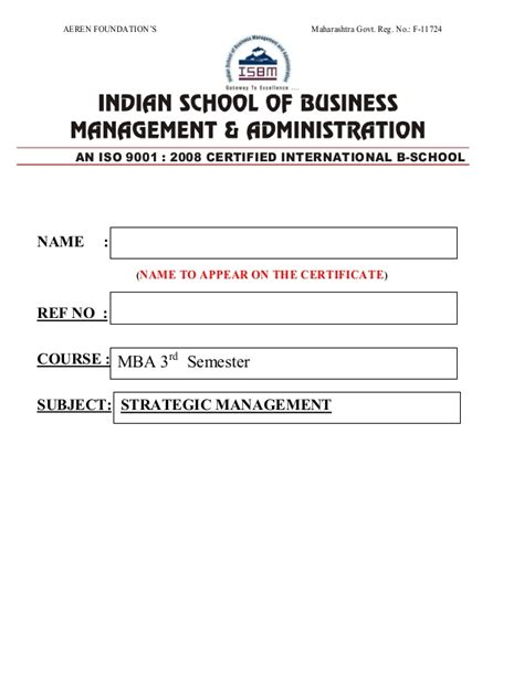 Iibms Mba Certificate by Strategic Management
