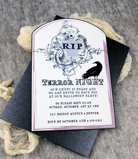 printable unveiling invitations halloween invitation template with raven tombstone