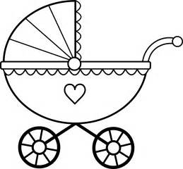 baby shower coloring pages baby carriage line free clip