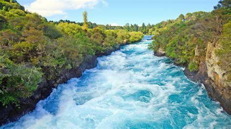 huka river water waterfall  zealand north island
