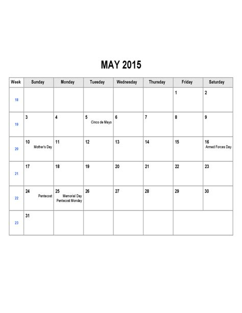 may 2015 calendar sle template free download