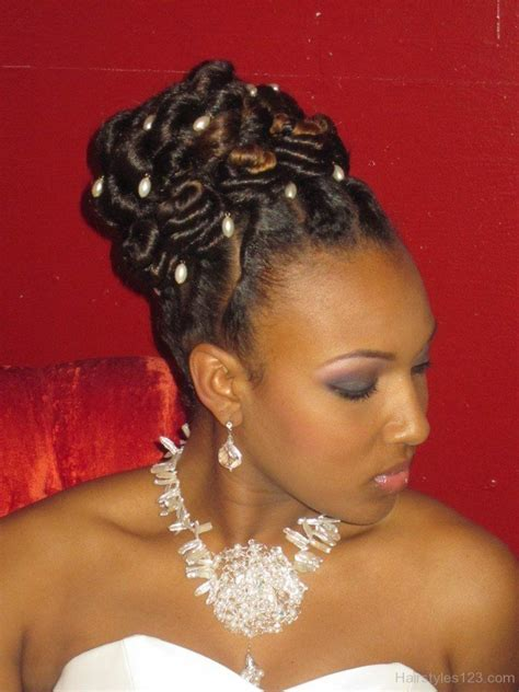 black female with hair twisted up in a ponytail box braid updo for wedding google search wedding
