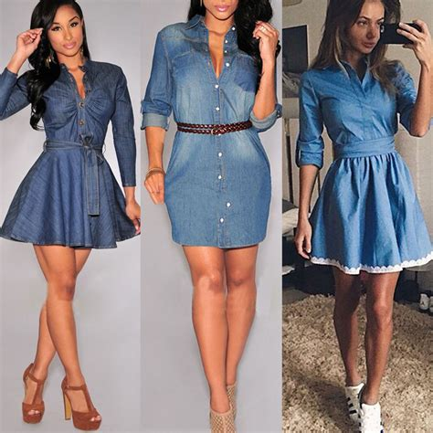 Blue Casual Denim Dress Sml 42911 mujer chica larga entallado casual pantalones de