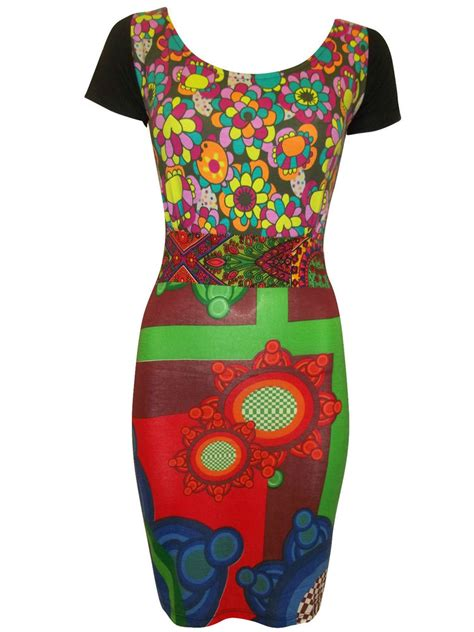 Id 350 Flower Split Dress desigual retro print bodycon dress patchwork top size 8 10