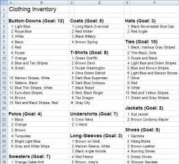 wardrobe checklist template best photos of clothing inventory spreadsheet template