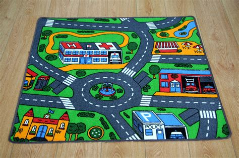 Kids Bedroom Car Play Mat Rug 100cm X 94cm Car Racing Road Car Rug For