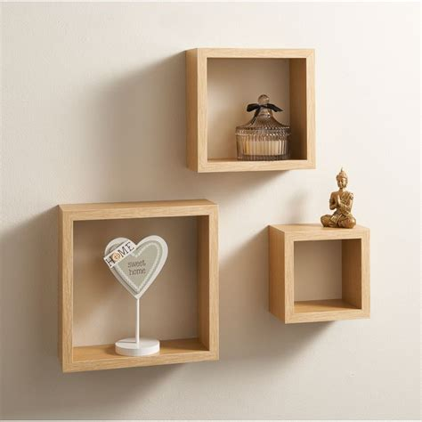 set of 3 floating cubes wall mounted storage book cd