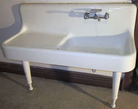 Kitchen Sink With Legs Antique Cast Iron White Porcelain Farmhouse Kitchen Sink W Legs 192