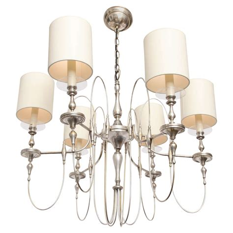 1940s moderne silver candelabra ceiling fixture for