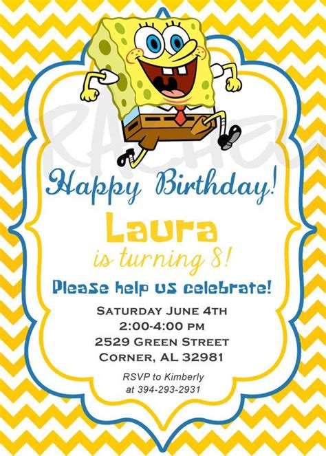 free printable birthday invitations spongebob squarepants 39 best images about spongebob party on pinterest