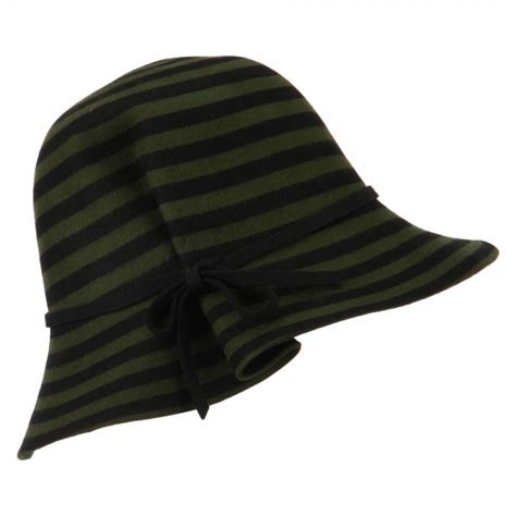 Ladika W F 82 Gren green striped wool felt cloche e4hats