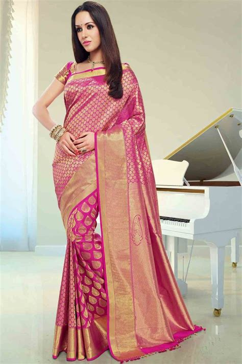 Wedding Sarees Banner by Pink Silk Brocade Zari Weaved Saree In Golden Border For