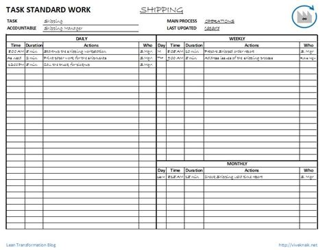 Standard Work Template best photos of standard work template lean standard work