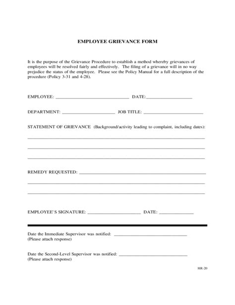 formal grievance template 5 grievance forms word templates