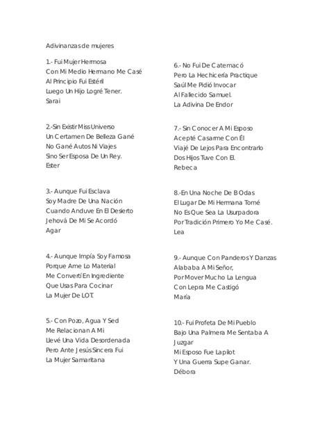 preguntas y adivinanzas cristianas 26 adivinanzas b 237 blicas de mujeres